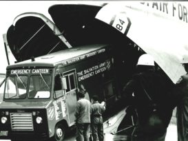A Salvation Army canteen vehicle shown coming off of a United States Air Force cargo plane.