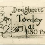 Cartoon depicting World War I soldier eating a doughnut