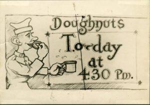 Cartoon depicting World War I soldier eating a doughnut