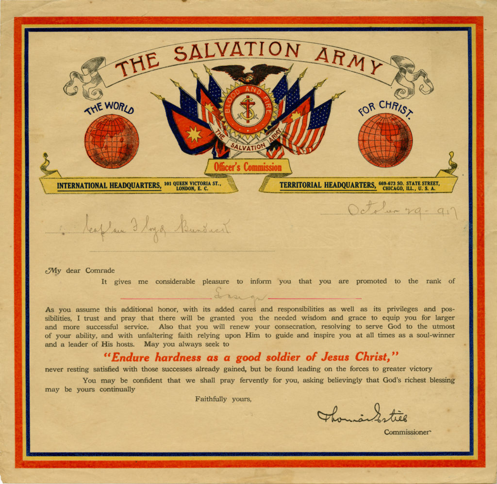 A Salvation Army Officer's Commission certificate