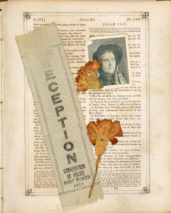 Page from Saunders Burdick Family Bible including photo two carnations and a ribbon from a convention