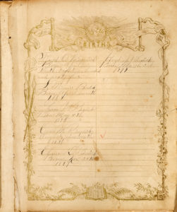 Record of Burdick family births