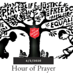 """graphic of a Black girl and white boy at the base of a tree. Text in tree reads """"Love Peace Life Justice Fredom Equality 6/2/2020 Hour of Prayer"""" Red Shield logo on tree."""