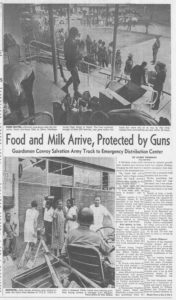 """Newspaper article, tile """"Food and Milk Arrive, Protected by Guns"""""""