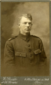 Photograph of Elmer Burdick wearing Salvaiton Army WWI uniform