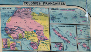 Map inset of French colonies, specifically those in Africa
