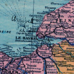 "Map showing Le Havre, France. Handwritten notation ""Arrived July 22, 1918"""