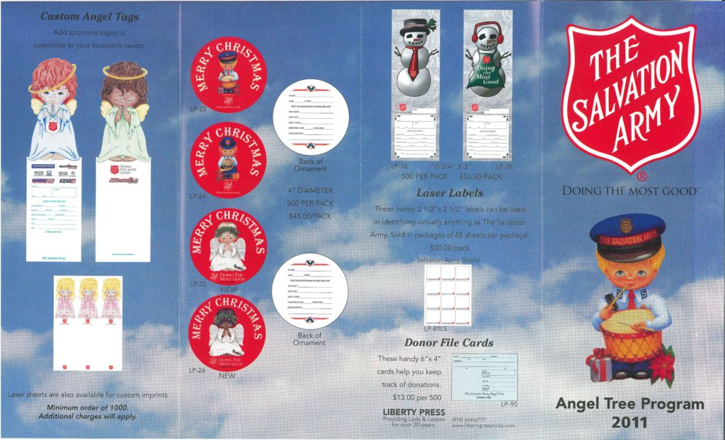 Pamphlet for the 2011 Angel Tree program. Host corps could use this pamphlet to select and order Angel Tree tags and donor file cards.
