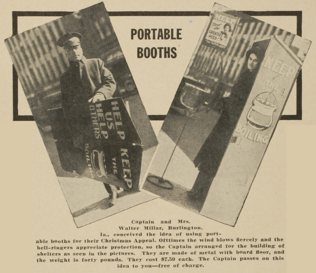 Clipping from newspaper showing two inset photos of a male Salvation Army officer carying a folded box and image of female Salvation Army officer standing in the box when setup. She is standing in front of a kettle stand. The box is a portable booth to protect a person from bad weather.