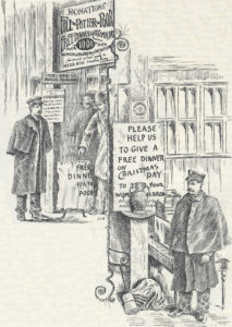 Illustration depicting two men wearing capes and Salvation Army hats standing next to the first kettles in 1891