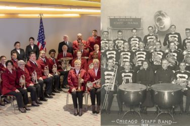 Split screen photo. Image on left shows the 2020 Chicago Staff Band membership. This includes men, women, white and Black musicians. The image on the right shows the 1928 Chicago Staff Band. All of the musicians are white men.