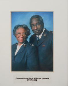 Photograph of Commissioners David and Doreen Edwards wearing Salvation Army uniforms